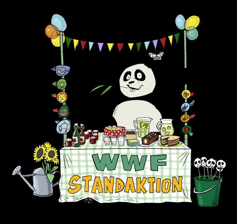 Der Panda organisiert eine Standaktion.